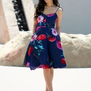 Banana Republic Navy Fit & Flare Floral Dress